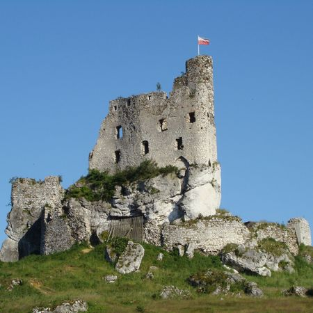 ruin of castle in Mirow, Poland                         photo