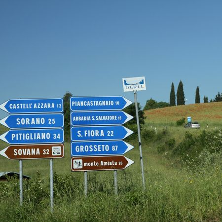 Roads sign in picturesque tuscan countryside, Italy photo