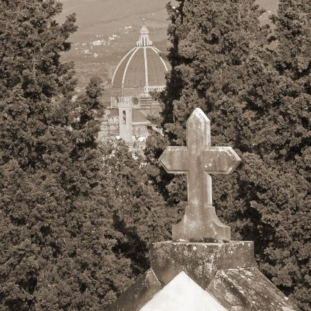 sante:  view of Florence from historic cemetery, Italy                                Stock Photo