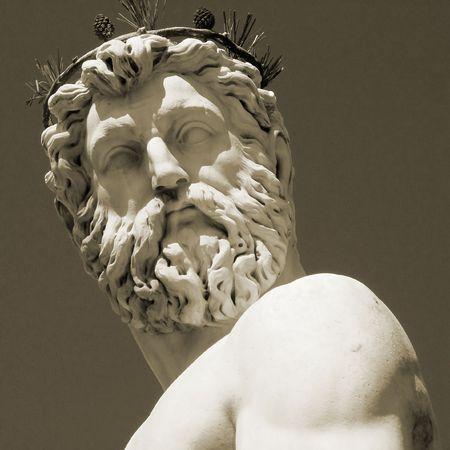 poseidon:               Neptune sculpture in Piazza Signoria, Florence