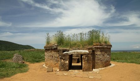 archaeological: etruscan tomb in  Baratti archaeological site, Tuscany