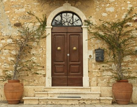 stone stairs: lovely tuscan front door, Italy