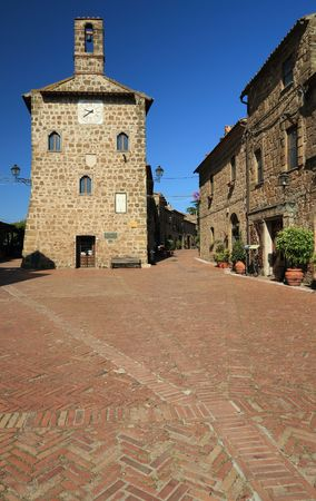 main piazza in Sovana, Tuscany photo