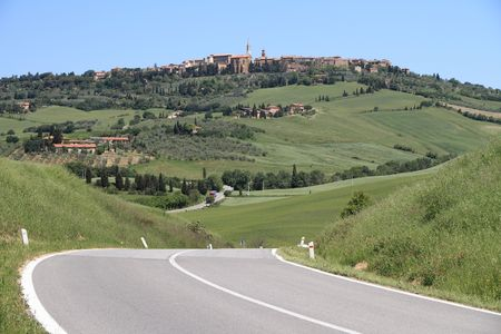 road in Tuscany, Pienza  photo