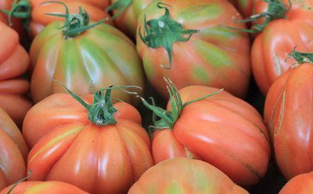 heirloom: Heirloom tomatoes on italian market  Stock Photo