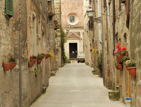 narrow street in Tuscany, Italy  Stock Photo