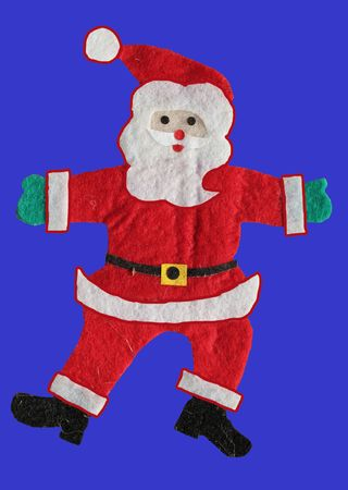 Santa Claus figure on blue  background, christmas card photo