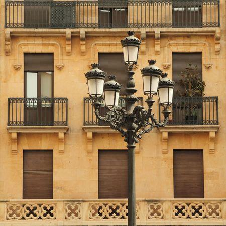 decorative retro street lamp, Salamanca, Spain photo
