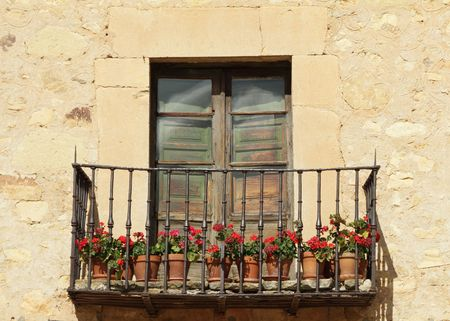 balcony with red flowers  photo