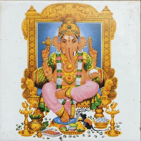 ganesh: ceramic tile with image of hindu deity Ganesha ( called also :Ganesa Ganesh, Ganapati Vinayaka, Pillaiyar