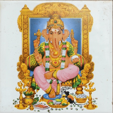 idool: keramische tegels met de afbeelding van de Hindoe-godheid Ganesha (ook genoemd: Ganesa Ganesh, Ganapati Vinayaka, Pillaiyar
