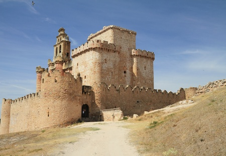 crenelation: Celtiberian castle of Turegano,province of Segovia , Castile and Leon region, Spain  Stock Photo