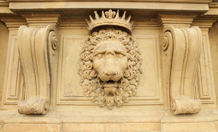 lion head relief on the facade of Pitti Palace, Florence, Italy  photo