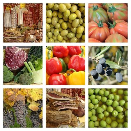 Mediterranean diet collage, Italy  photo