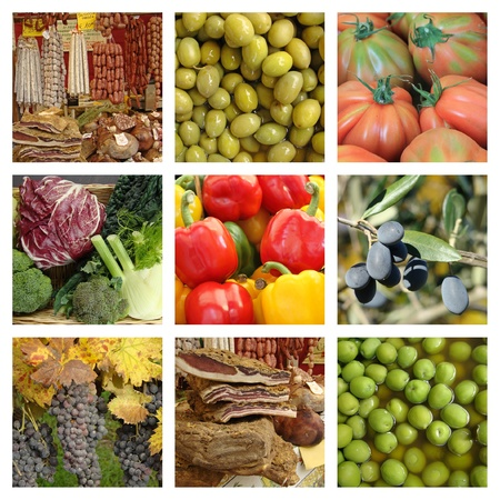 mediterranean cuisine: Mediterranean diet collage, Italy  Stock Photo