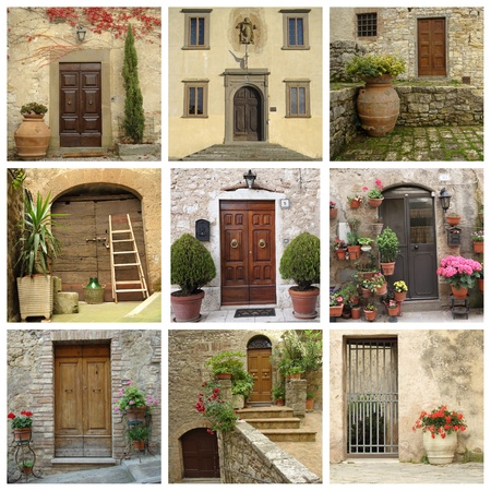collage of front doors, Tuscany photo