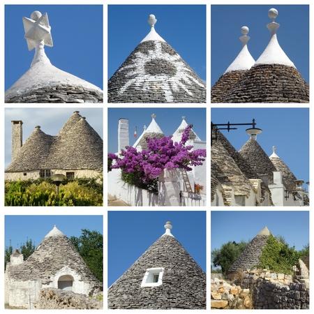 trulli: collage of trulli houses, Apulia, Italy
