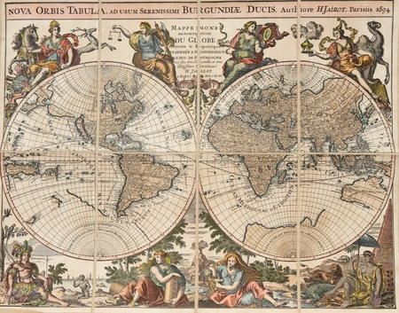 Reproduction of an antique map of the world:  photo