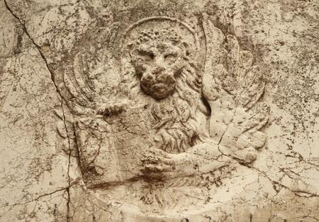 leon alado: socorro de Le�n alado antiguos en m�rmol, Venecia