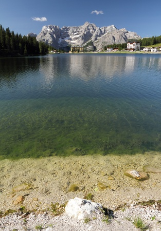 lake misurina: Lake Misurina in Dolomites Mountains ( italian Dolomiti), Auronzo di Cadore, Italy