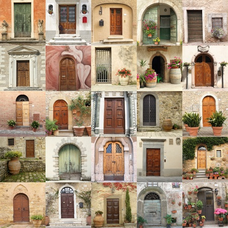 tuscan: collage with retro doors in Italy