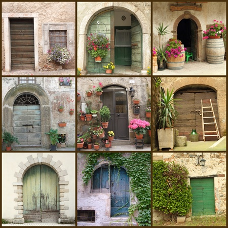 collection of beautiful rustic doors in Italy, Europe photo