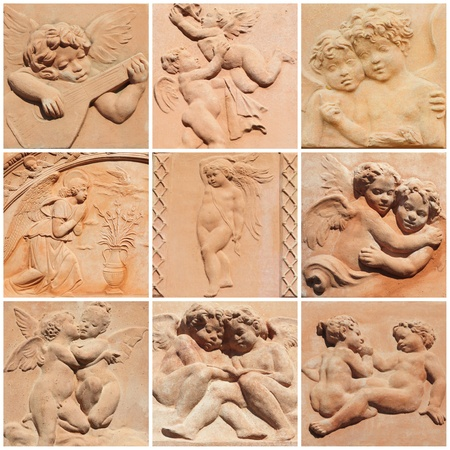 terracotta: collage with angelic reliefs in terracotta from tuscan Impruneta, Italy Stock Photo