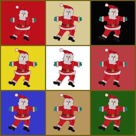 collage with colorful Santa Claus photo