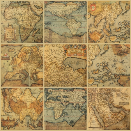 collage with antique maps photo