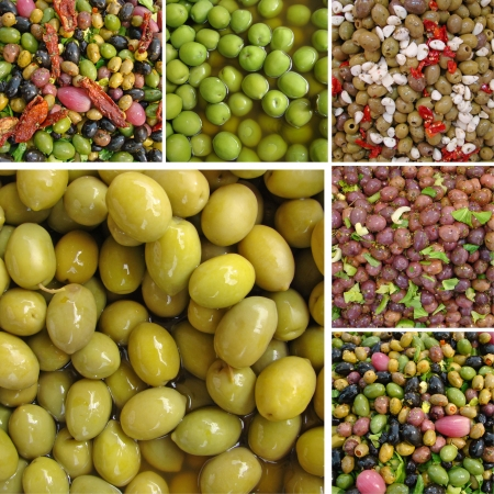 calabria: collage with  olive  snacks Stock Photo