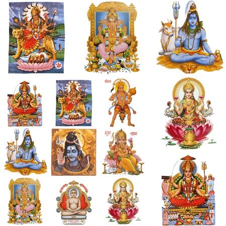 hinduismo: colección de dioses hindúes aisladas sobre fondo blanco, India Foto de archivo