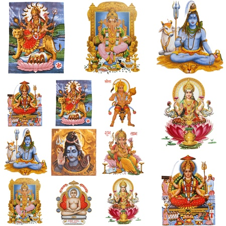 deities: collection of hindu gods isolated on white, India
