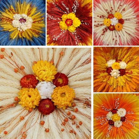 arrangment: collage with cereal floral compositions, Poland