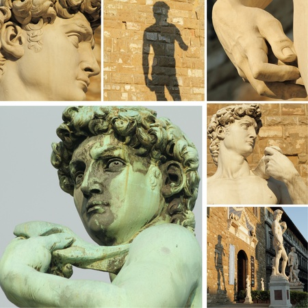 collage with famous renaissance sculpture of David by Michelangelo, Florence, Italy