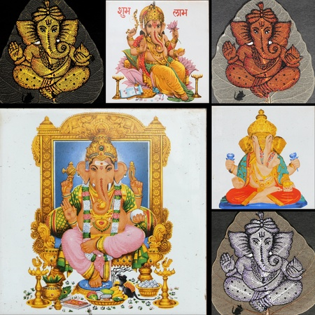 collage with ganesha art pieces photo