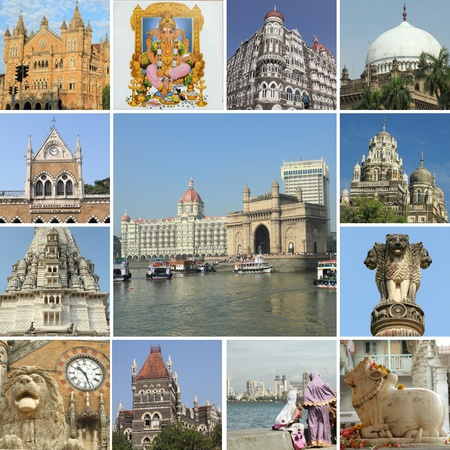 composition  with monuments of Mumbai ( formerly Bombay ) city, India