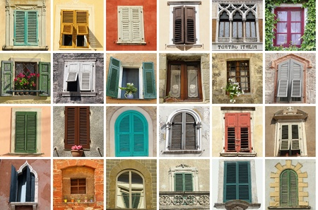parapet wall: collection of old windows from Italy  Stock Photo