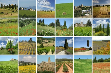 collage with wonderful Tuscan scenery  photo