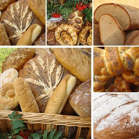 bread shop: collage con variet� di pane, Polonia Archivio Fotografico