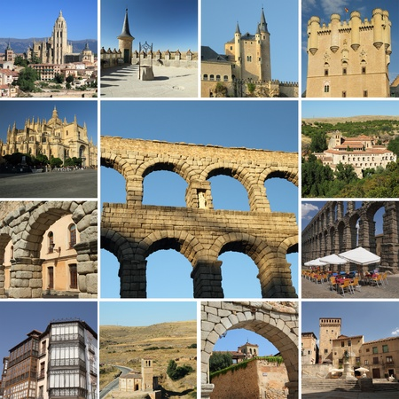 segovia: collage with landmarks of Segovia, Spain