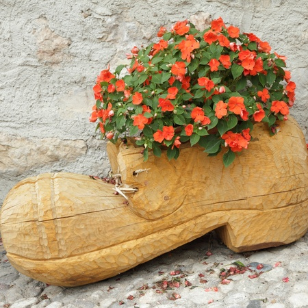 impatiens:  wooden flower pot in shape of shoe with blooming red impatiens