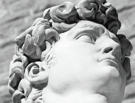 black and white head of famous statue of David by Michelangelo, Florence, Italy