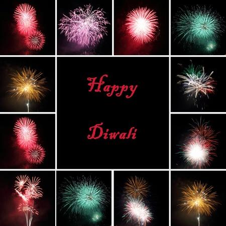 festival occasion: fireworks collage for celebration of  festival Diwali Stock Photo