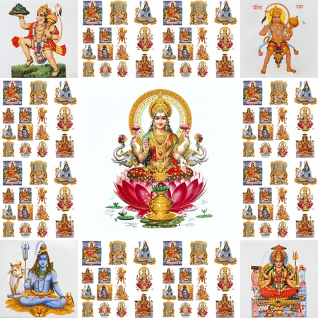 deepawali: Collage con dioses hind�es (Lakshmi, Hanuman, Shiva, Parvati,...)