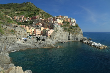 beautiful italian marine village in Cinque Terre region, Manarola, Liguria, Italy, Europe photo