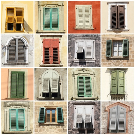 collage with antique windows with shutters in Italy, Europe Stock Photo - 10856986