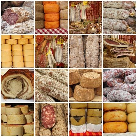 charcuter�a: Collage con tradicionales t�picas embutidos italianos y queso en mercado agricultor Toscana, Italia, Europa Foto de archivo