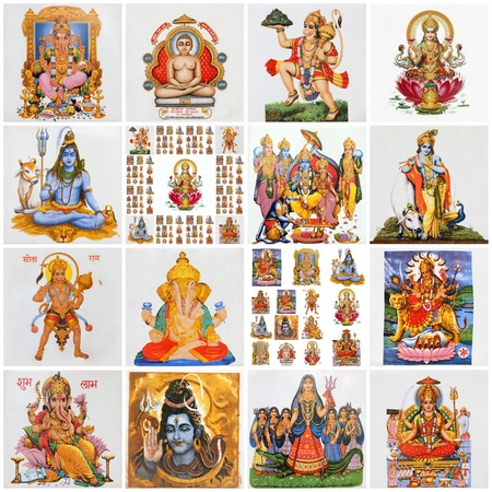 collage with variety of asian religious symbols as: Lakshmi, Ganesha, Hanuman, Vishnu, Shiva, Parvati, Durga, Buddha, Rama, Krishna photo
