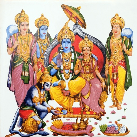 vishnu: hindu deity Hanuman and Lord Rama and his wife Sita on antique pottery tile