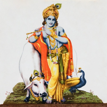 krishna: beeld van de hindoegod Krishna met koe, pauw en fluit op antiek aardewerk tegel